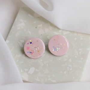 Shoreline Circle Studs in Pink Salt