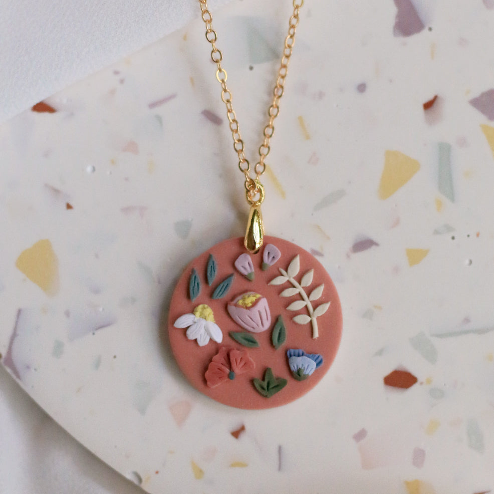 Garden Bloom Circle Necklace in Terracotta