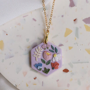 Garden Bloom Hex Necklace in Lilac