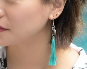 Coconut Teal Tassel Earrings by #daughtersofcambodia