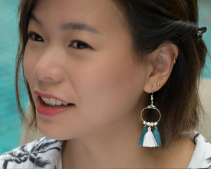 Aztec Teal & White Earrings by #daughtersofcambodia