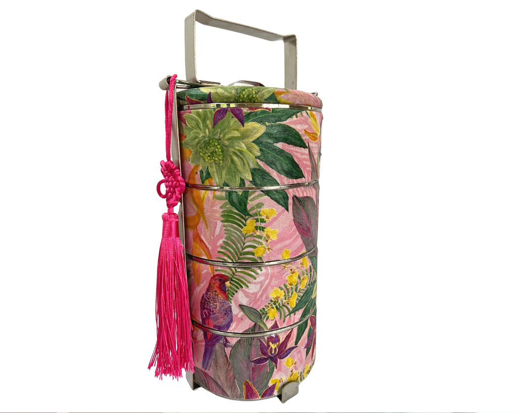 Bright Vibrant Pink Parrot Tropical Rainforest Inspired Tingkat Tiffin Carrier