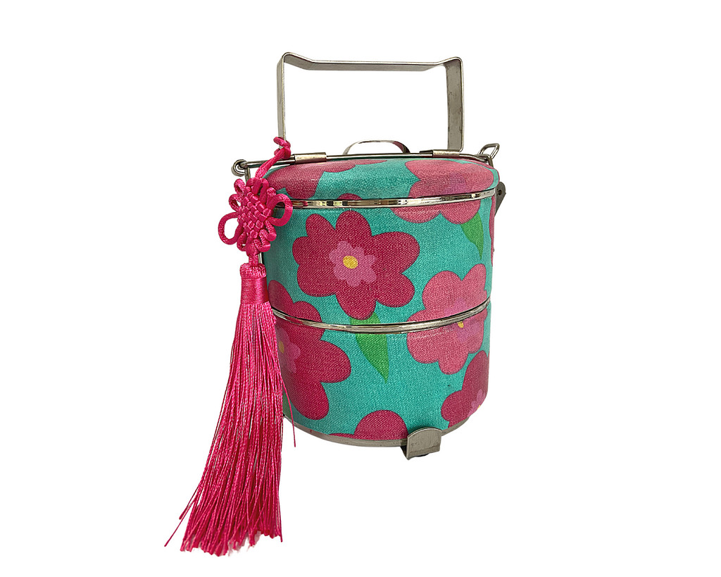 Bright Vibrant Teal-Fushia Peranakan Inspired Tingkat Tiffin Carrier