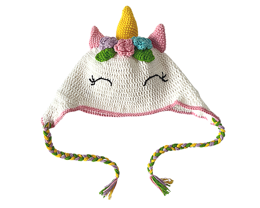 Rainbow Unicorn Kids Collection- Crochet Beanie Hat and Water Bottle Carrier