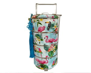 Bright Vibrant Pink Flamingoes Tropical Rainforest Inspired Tingkat Tiffin Carrier