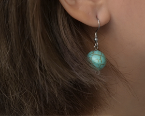 Marbled Teal Globe Earrings by #daughtersofcambodia