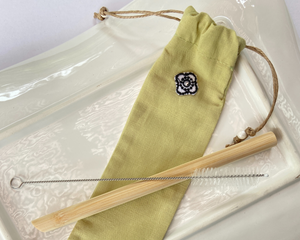 Linen Cutlery Pouch with Reusable Bamboo Straw and Brush Set (2 in a set)