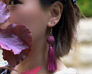 Maroon / Grape Flush Tassel Earrings by #daughtersofcambodia