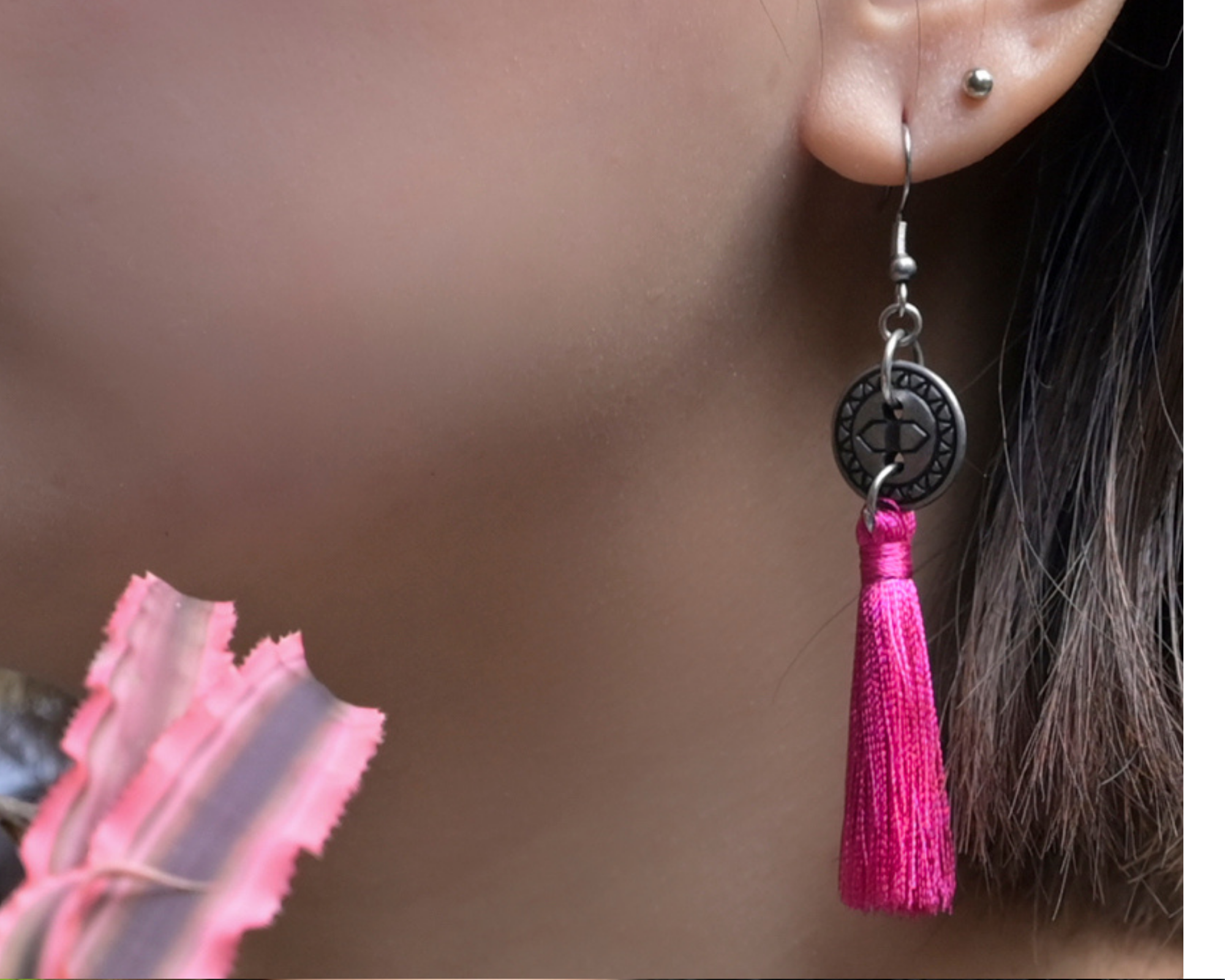 Hot Coral Tassel Earrings by #daughtersofcambodia