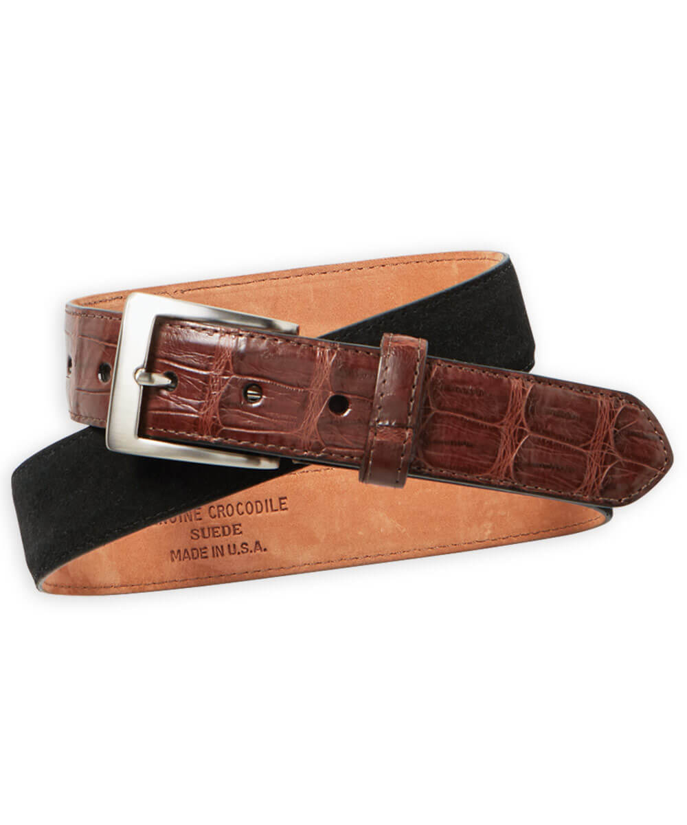 W. Kleinberg Suede Belt With Caiman Croc Accent