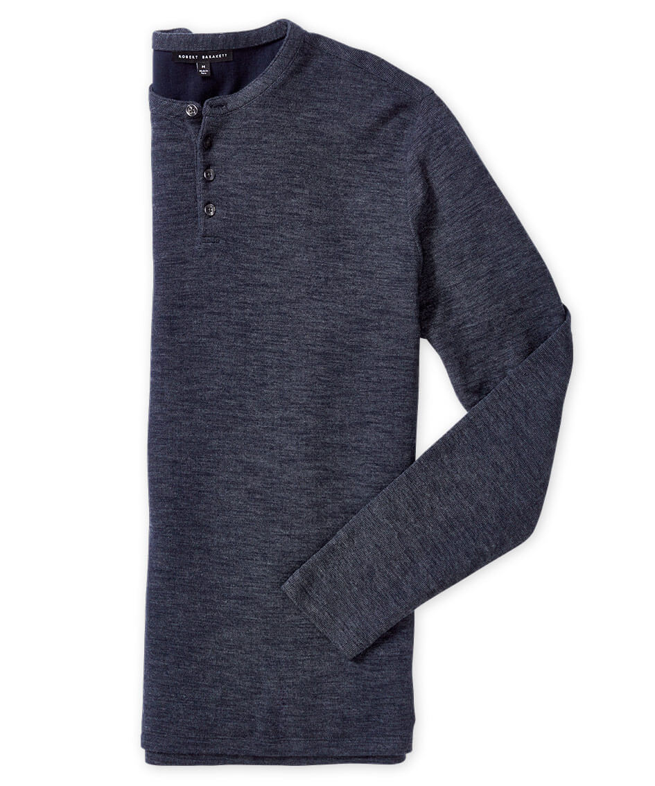 Robert Barakett Long Sleeve Heathered Double Face Henley