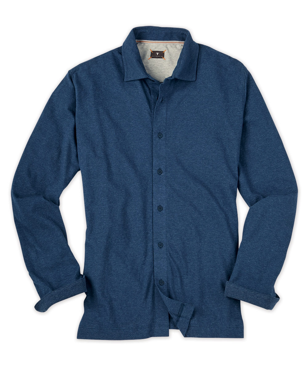 Left Coast Tee Melange Knit Long Sleeve Sport Shirt