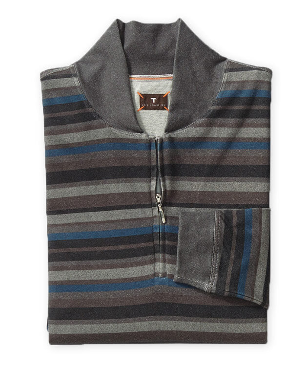 Left Coast Tee Baseball Collar Tweed Stripe Long Sleeve Shirt