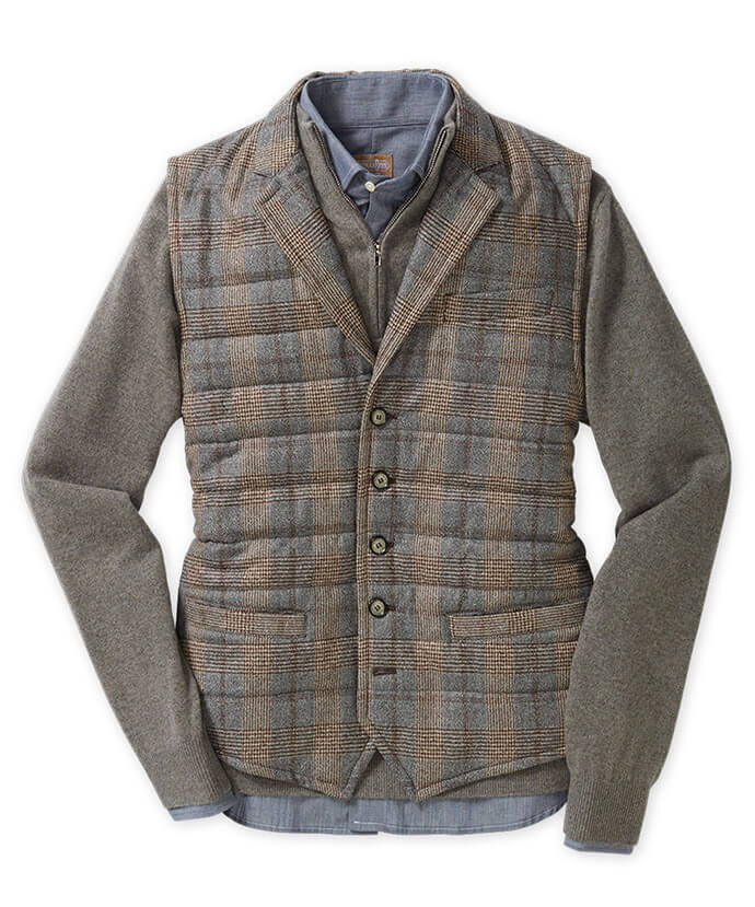 Grey & Tan Plaid Vest