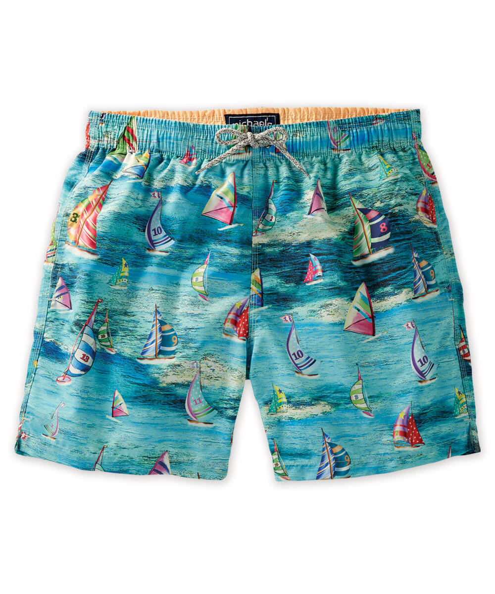 Sail Boat Print Swim Trunks