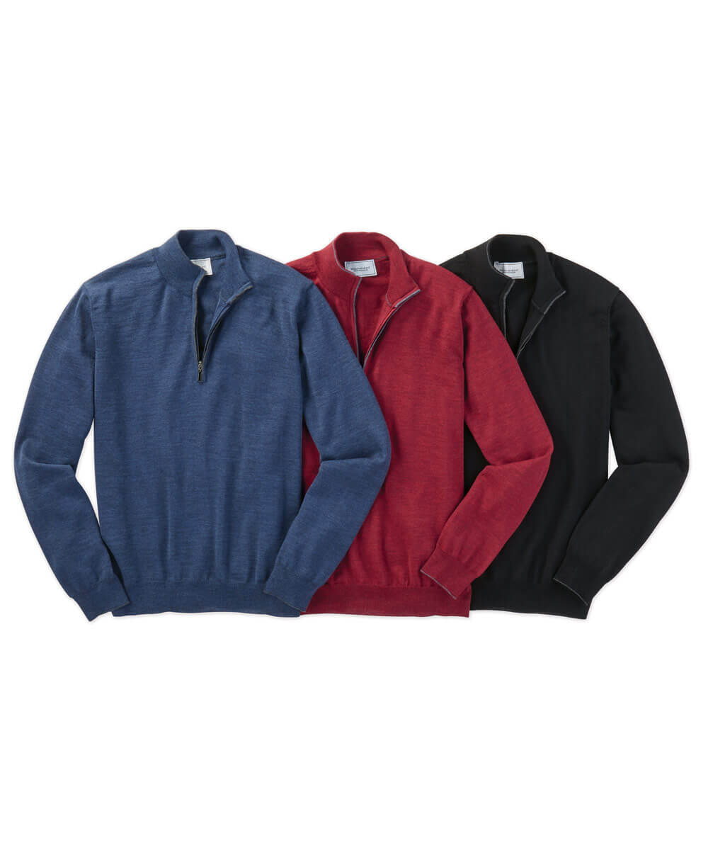 Italian Merino Wool Solid Quarter-Zip Sweater