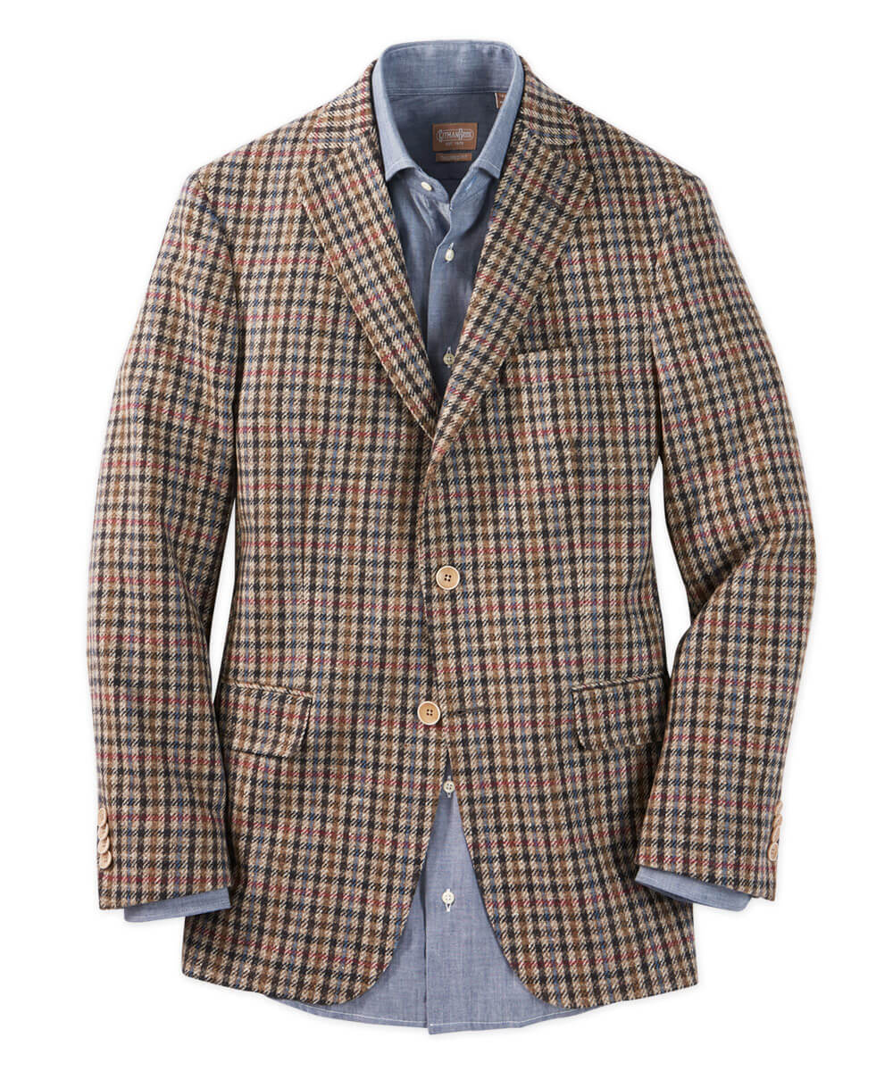 Italian Wool Brown Plaid Sport Coat