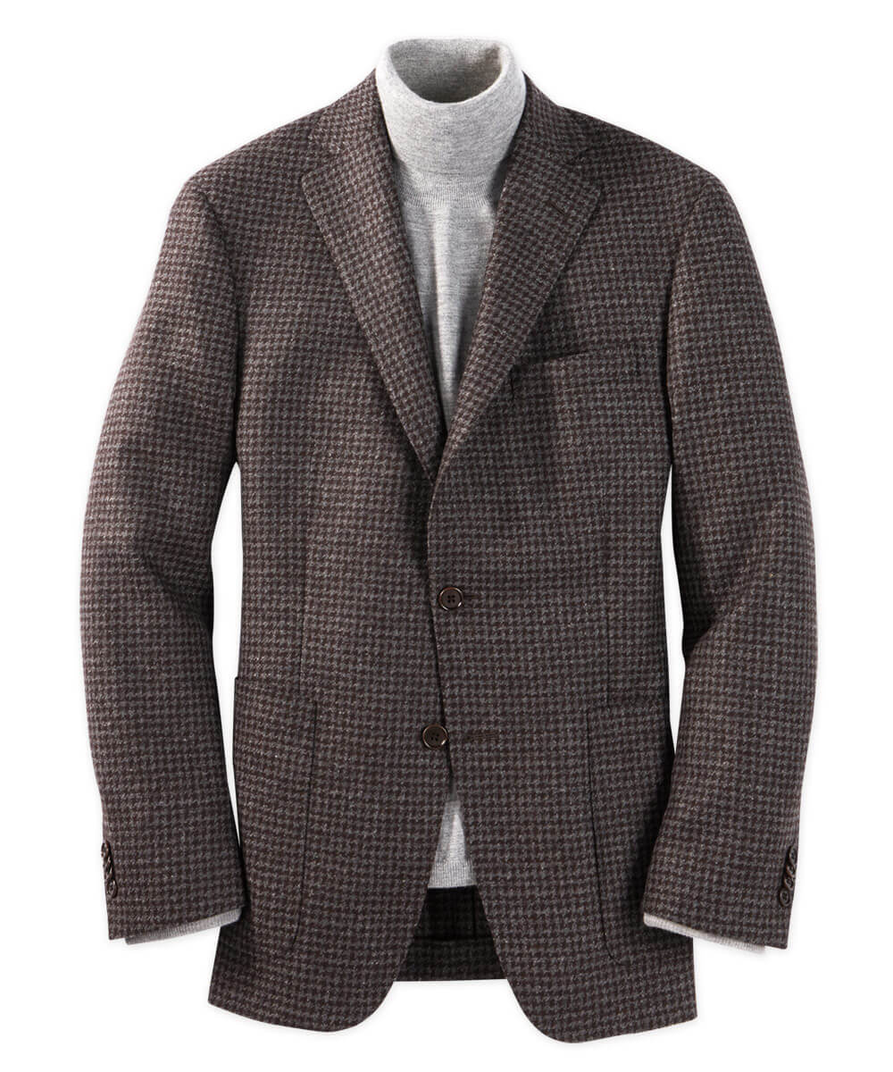 Italian Wool And Cashmere Modern Houndstooth Sport Coat