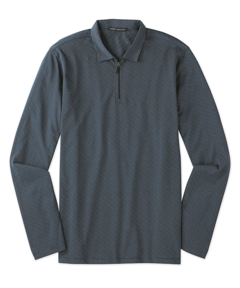 Robert Barakett Geo Jacquard Quarter-Zip Polo Shirt