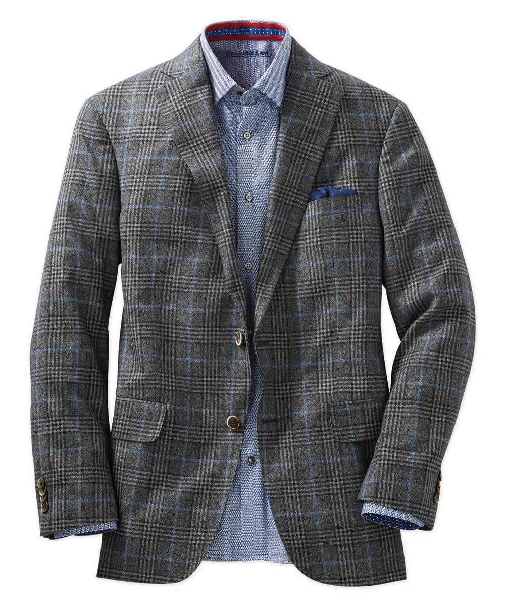 Italian Wool Charcoal Plaid Sport Coat