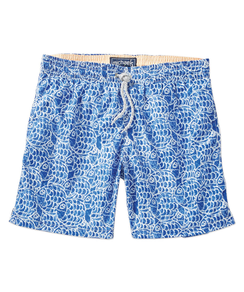Michael's Swim Abstract Fish Print Swim Trunk