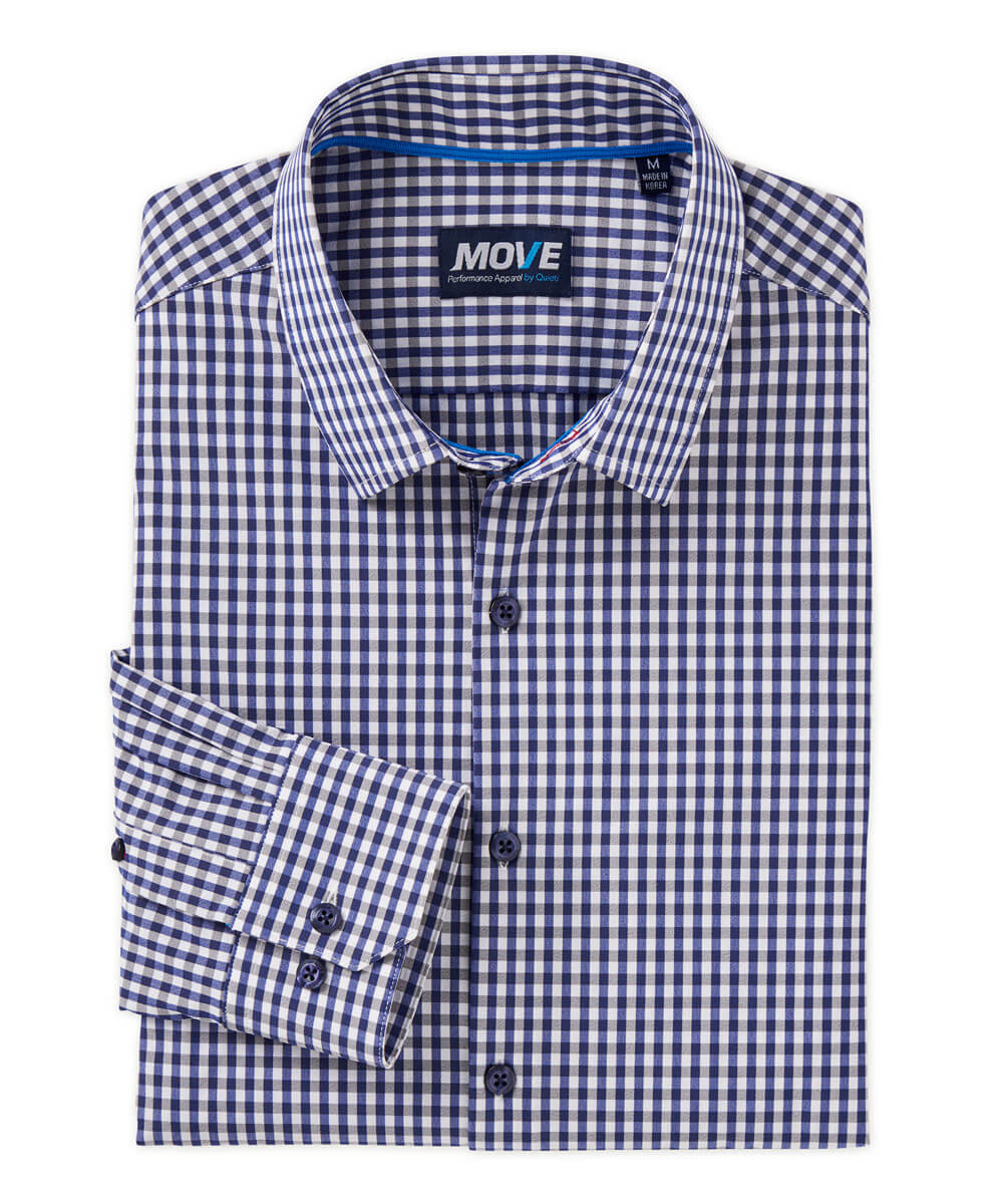 Move Performance Navy Check Long Sleeve Sport Shirt