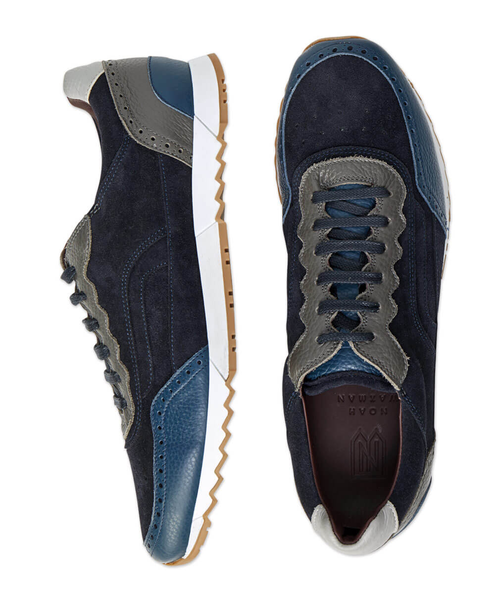 Noah Waxman Greenwich Suede And Pebble Nappa Sneaker