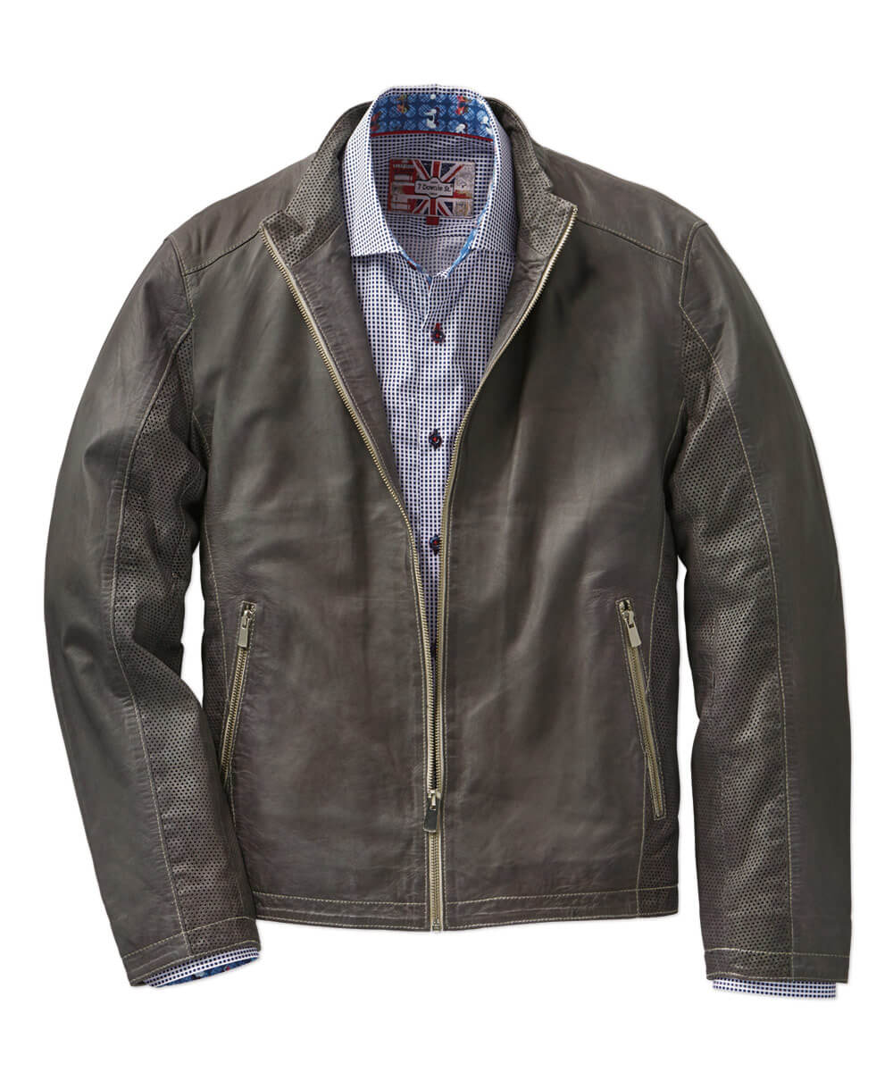 Lightweight Leather Moto Jacket With Perforated Detail
