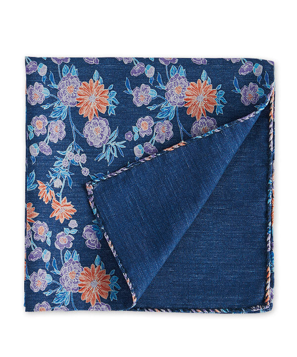 J.S. Blank Floral-To-Solid Reversible Pocket Square