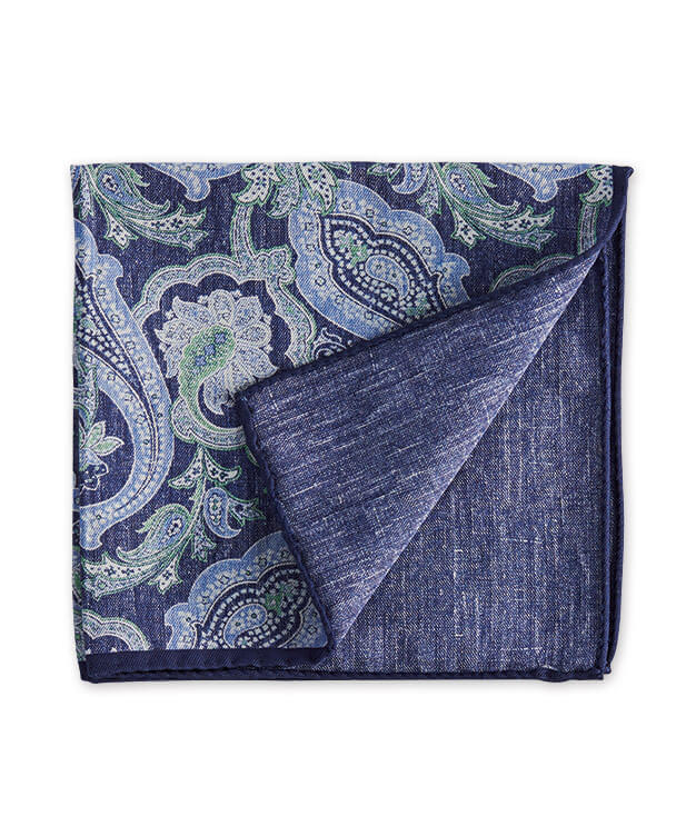 J.S. Blank Paisley-To-Solid Reversible Pocket Square