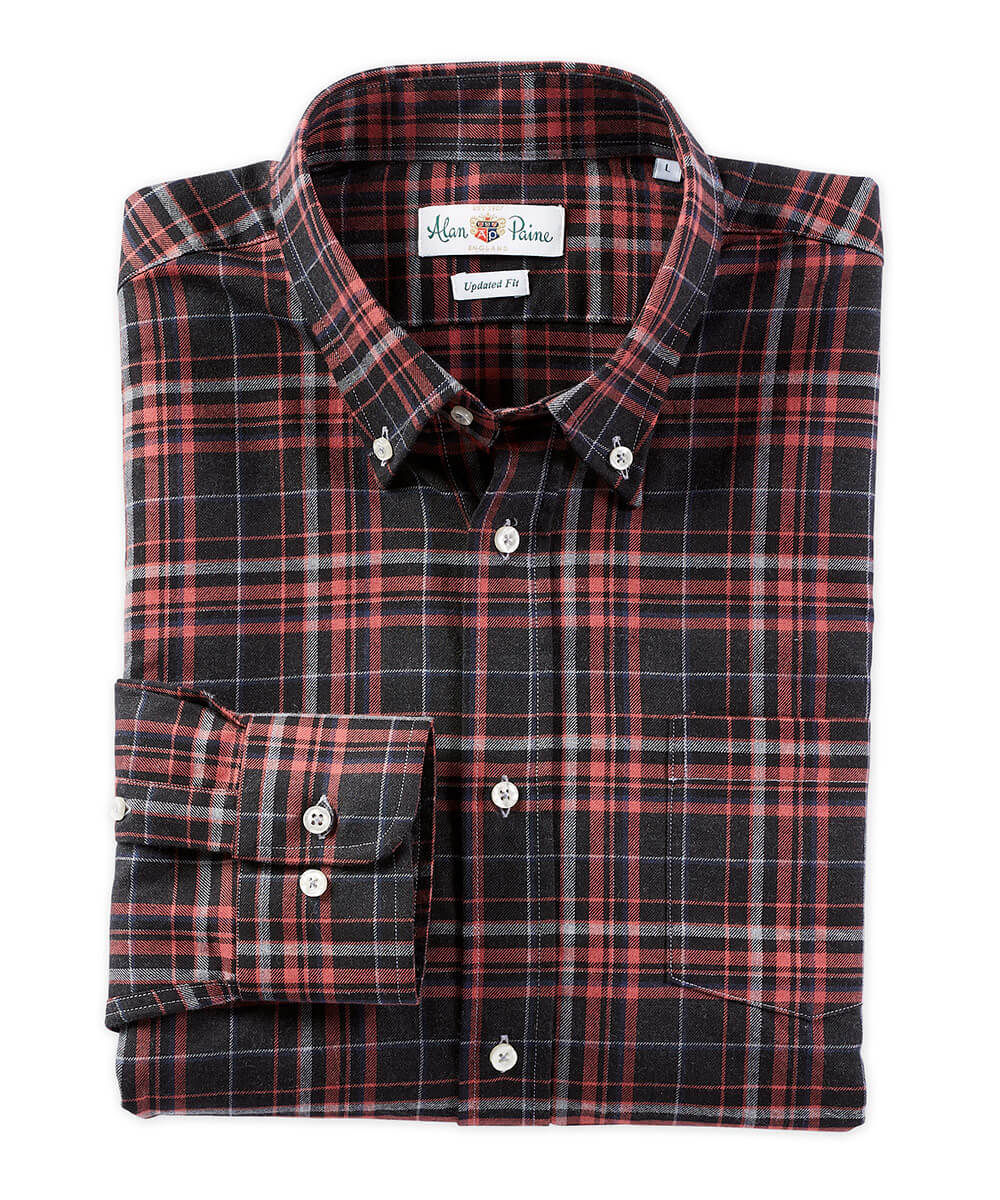 Alan Paine Brushed Twill Plaid Long Sleeve Sport Shirt