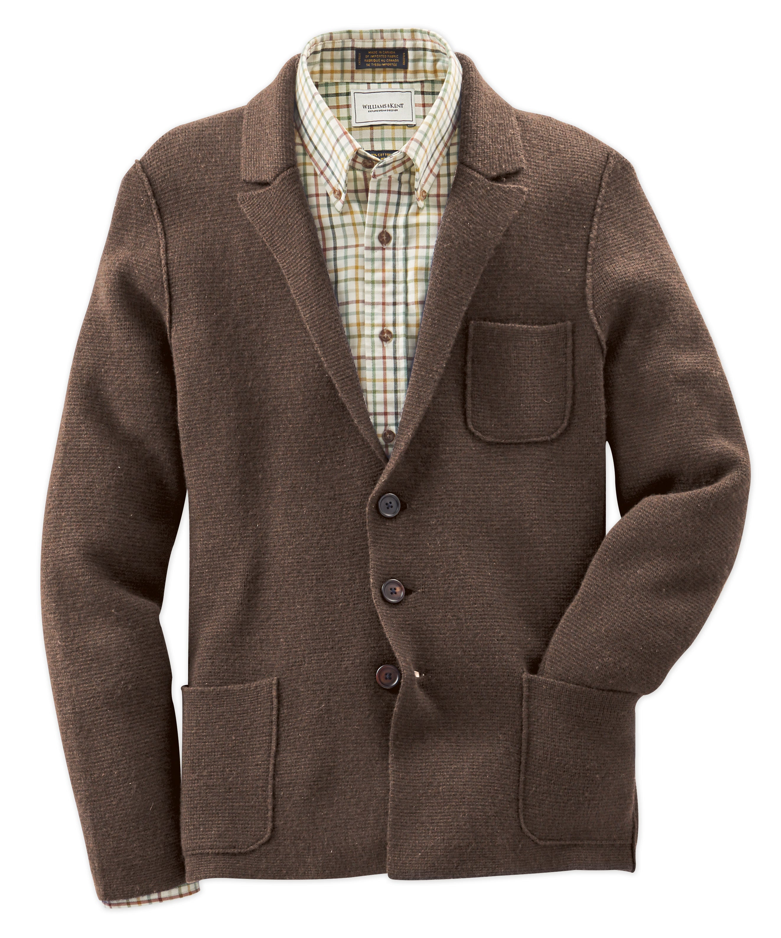 Alan Paine Wendover Wool-Cashmere Sweater Jacket - Bark