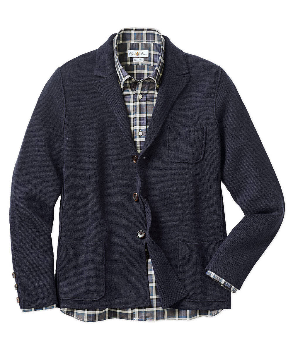 Alan Paine Wendover Wool-Cashmere Sweater Jacket - Navy
