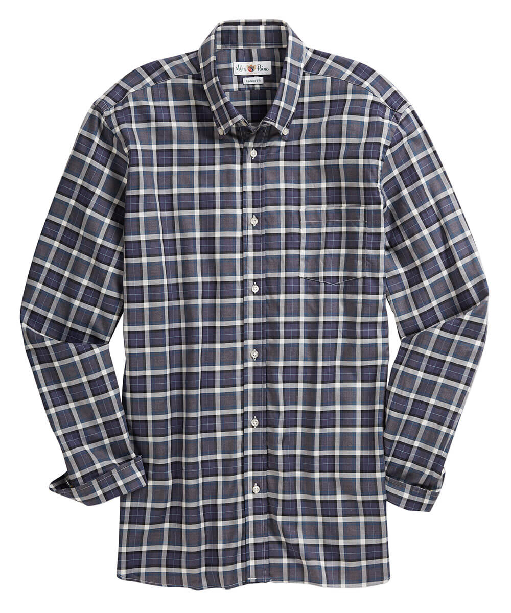 Alan Paine Box Plaid Long Sleeve Sport Shirt