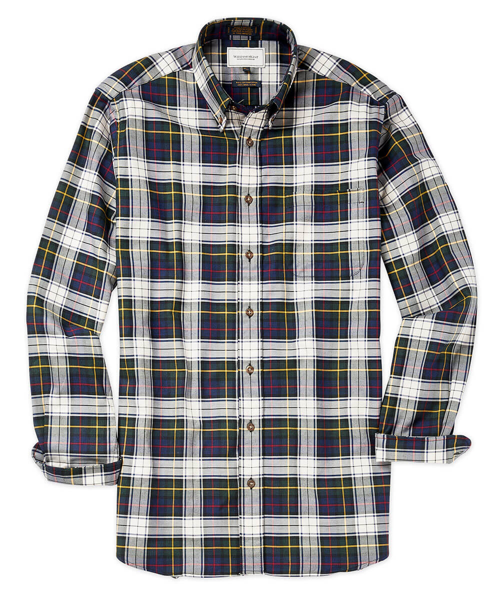 Cotton-Wool Navy Plaid Long Sleeve Sport Shirt