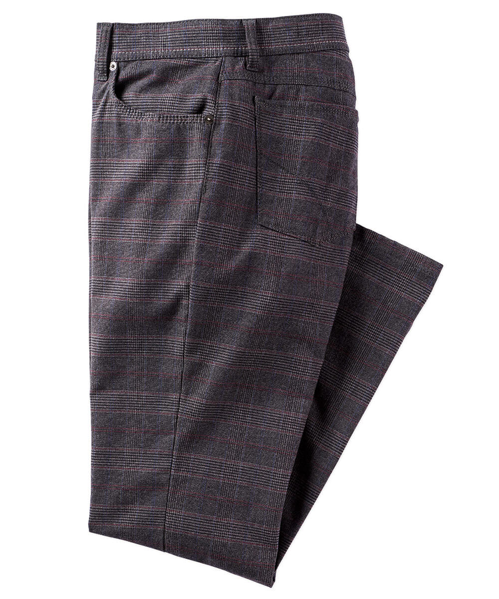 Brax Brushed Twill Plaid 5-Pocket Pant
