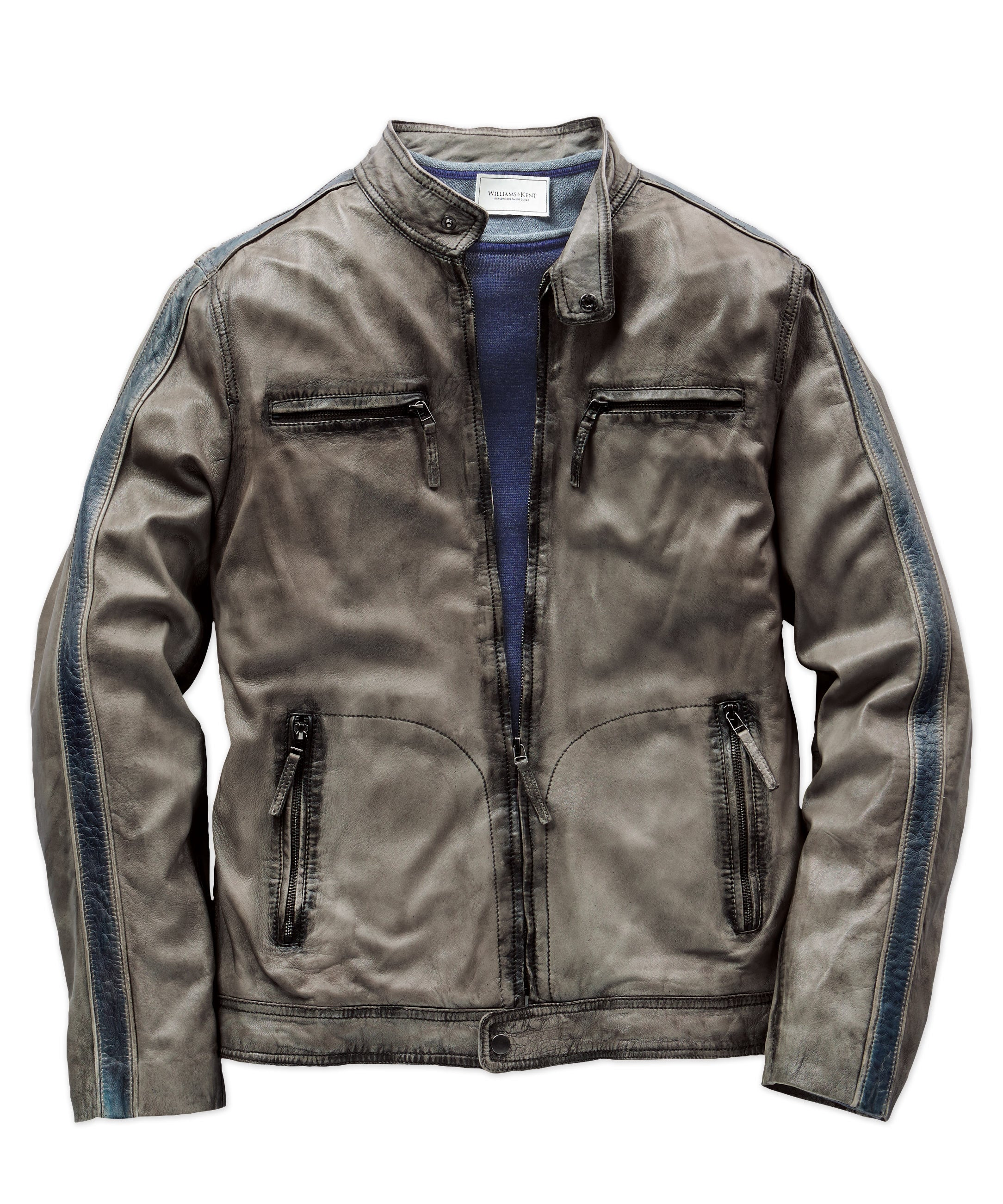 Two-Tone Lamb Leather Moto Jacket