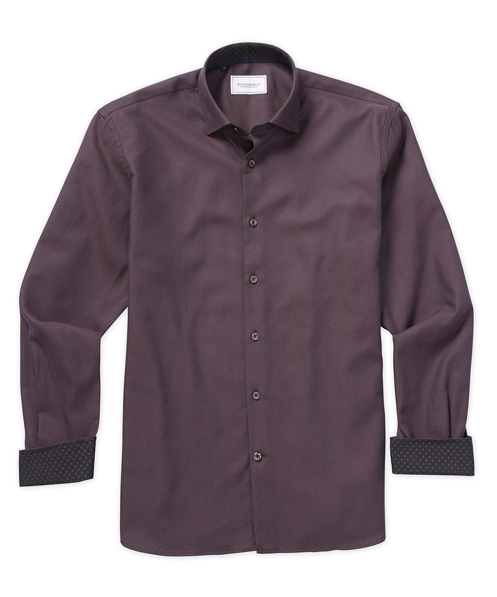Queens Oxford Two-Tone Long Sleeve Sport Shirt