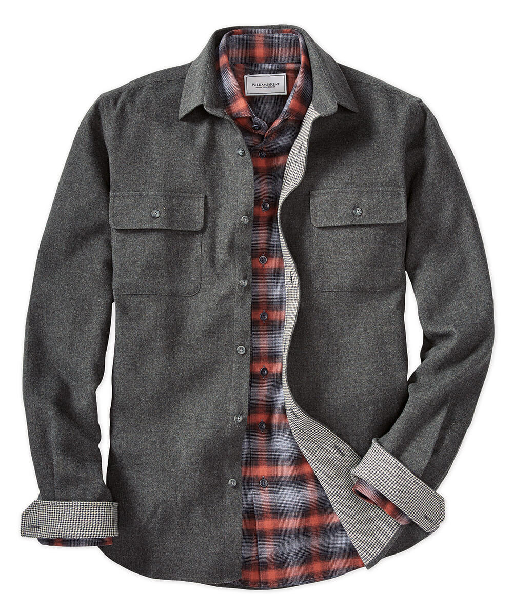 Brushed Cotton Two-Pocket Shirt Jacket