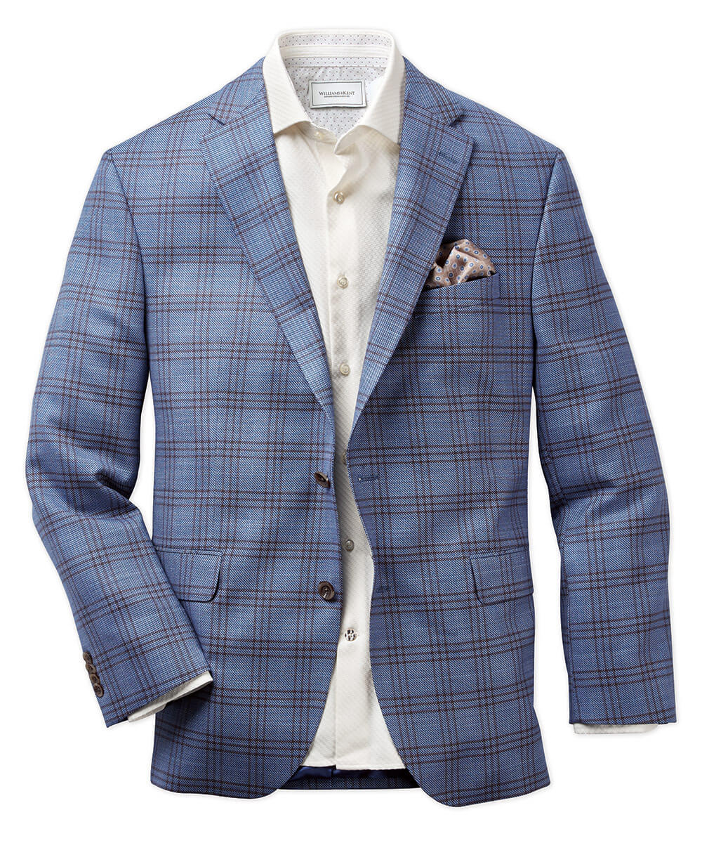 Stretch Wool Textured Windowpane Sport Coat