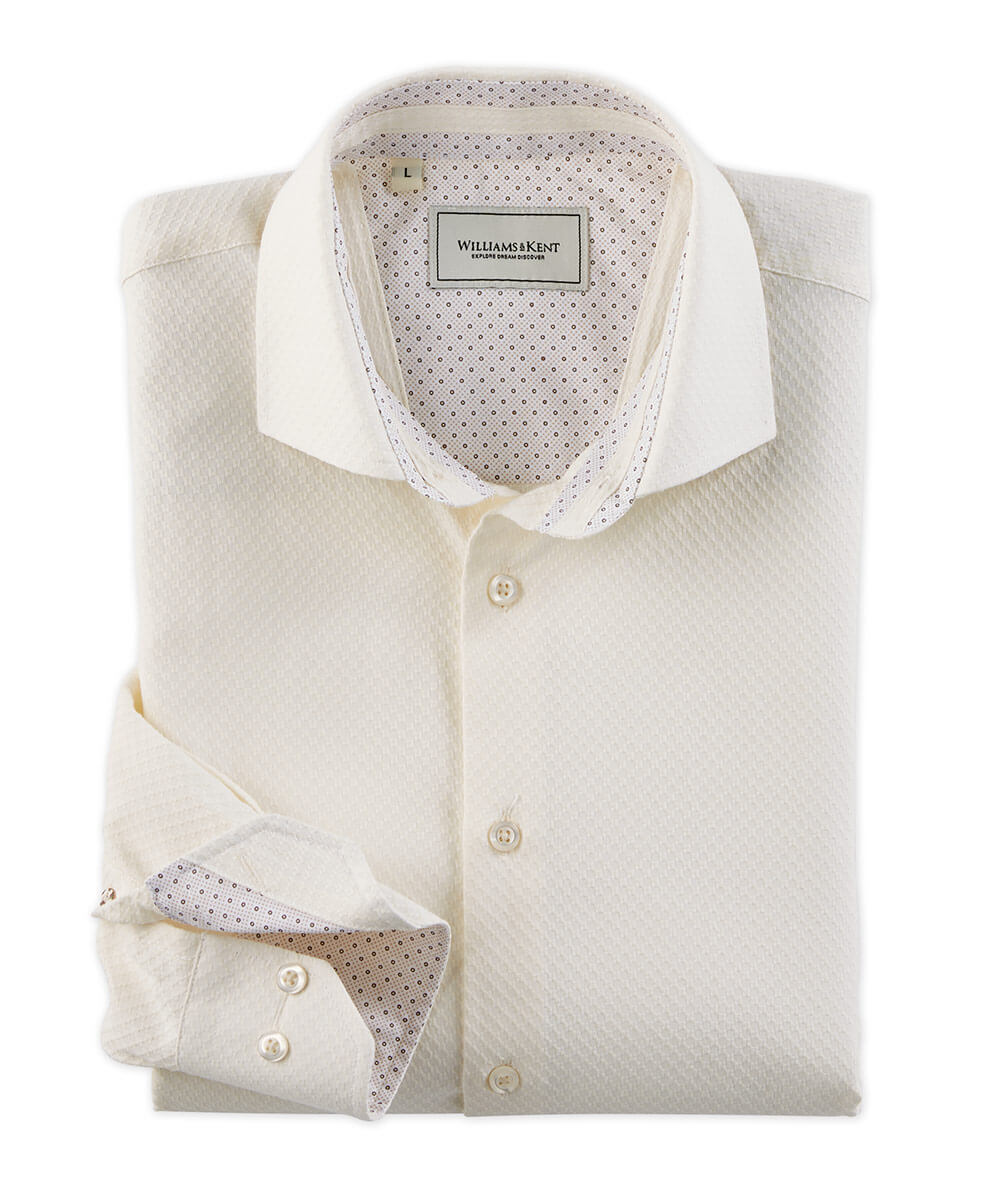 Solid Jacquard Long Sleeve Sport Shirt
