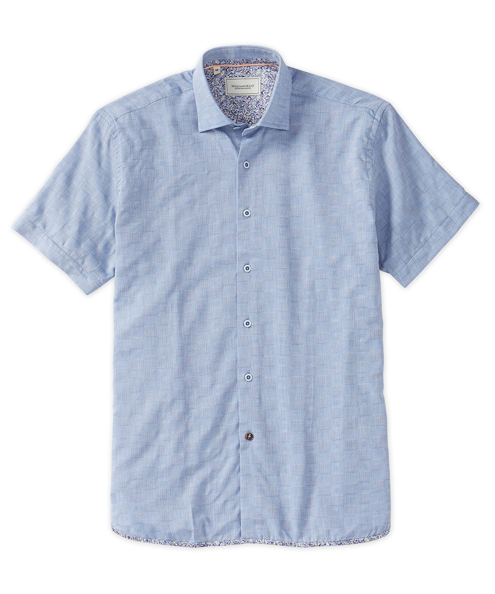 Solid Jacquard Woven Short Sleeve Shirt