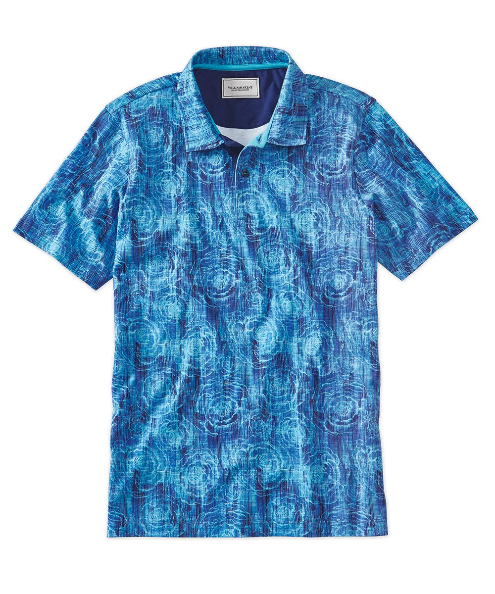 Tonal Print Short Sleeve Polo Shirt