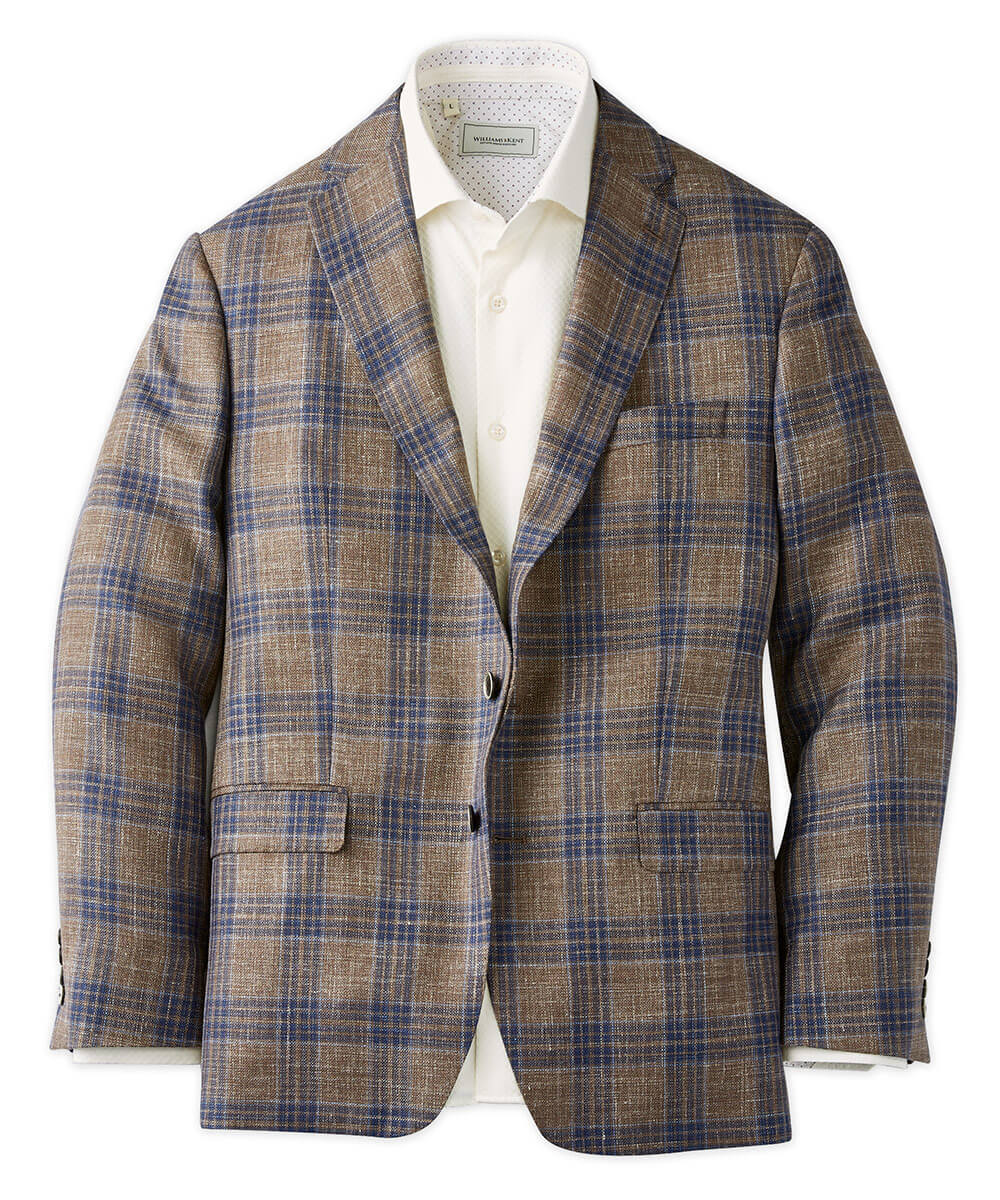 Loro Piana Wool-Silk-Linen Textured Plaid Sport Coat