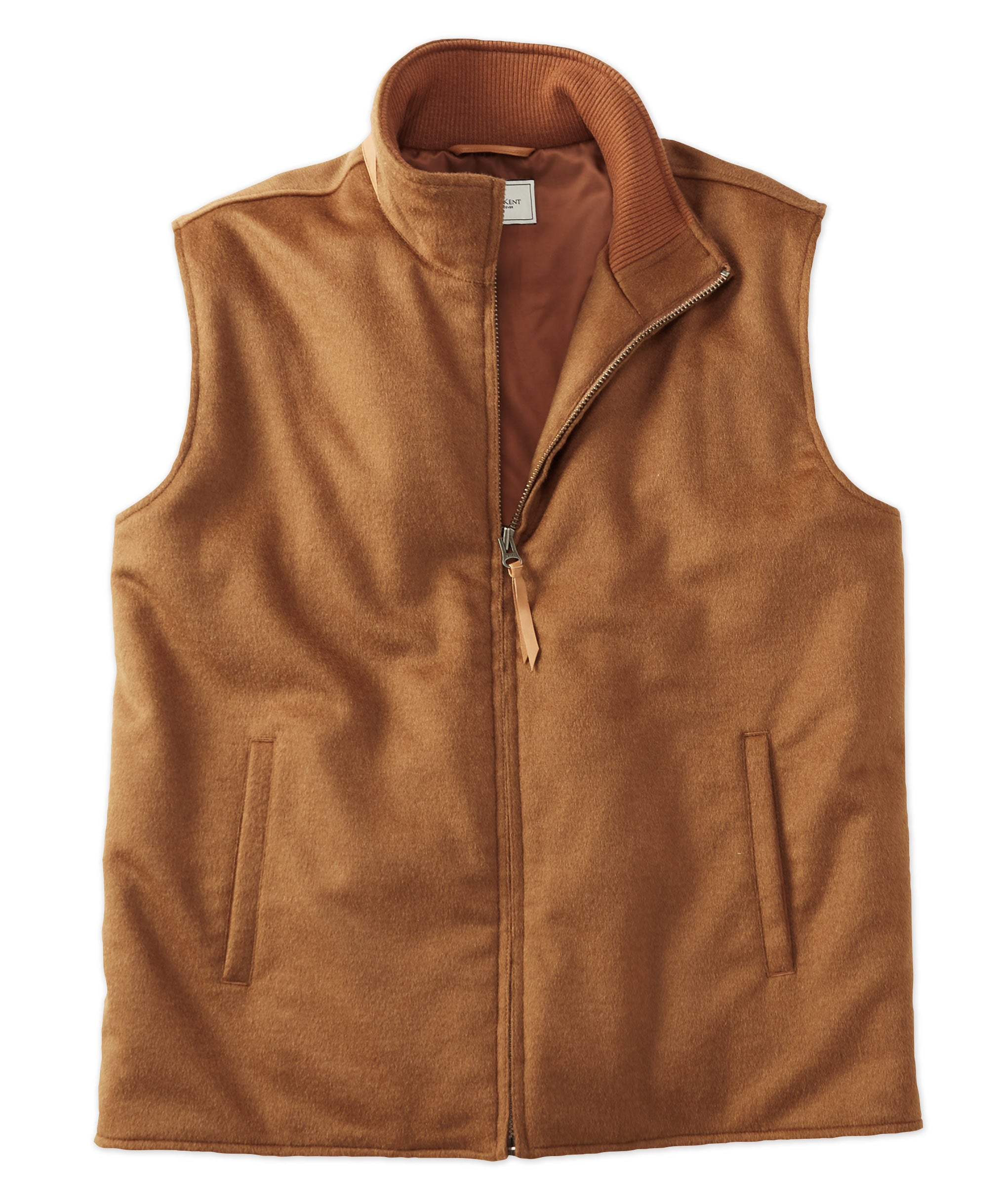 Luxe Wool Full-Zip Vest with Leather Trim