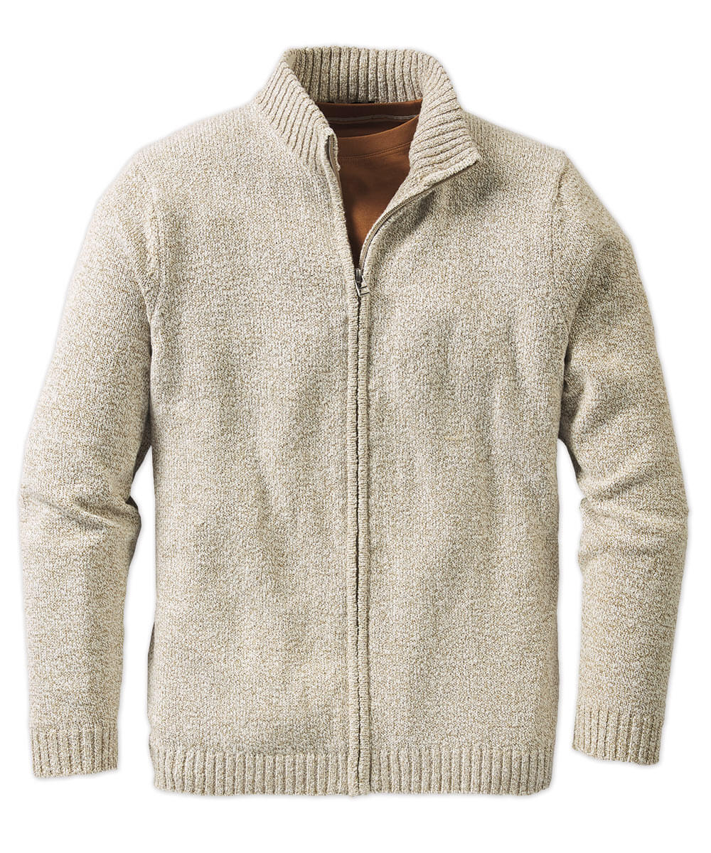 Slub Textured Full-Zip Cardigan