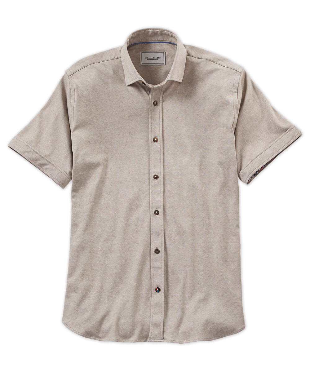 Mercerized Button-Front Short Sleeve Shirt