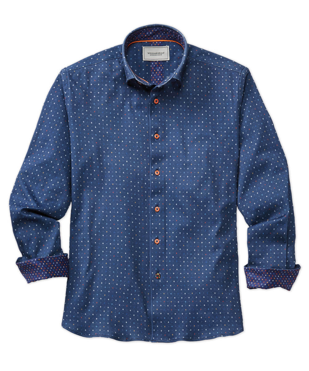 Foulard Print Knit Long Sleeve Sport Shirt