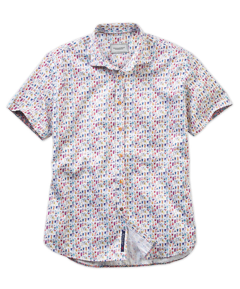 Beach Cocktail Print Short Sleeve Sport Shirt