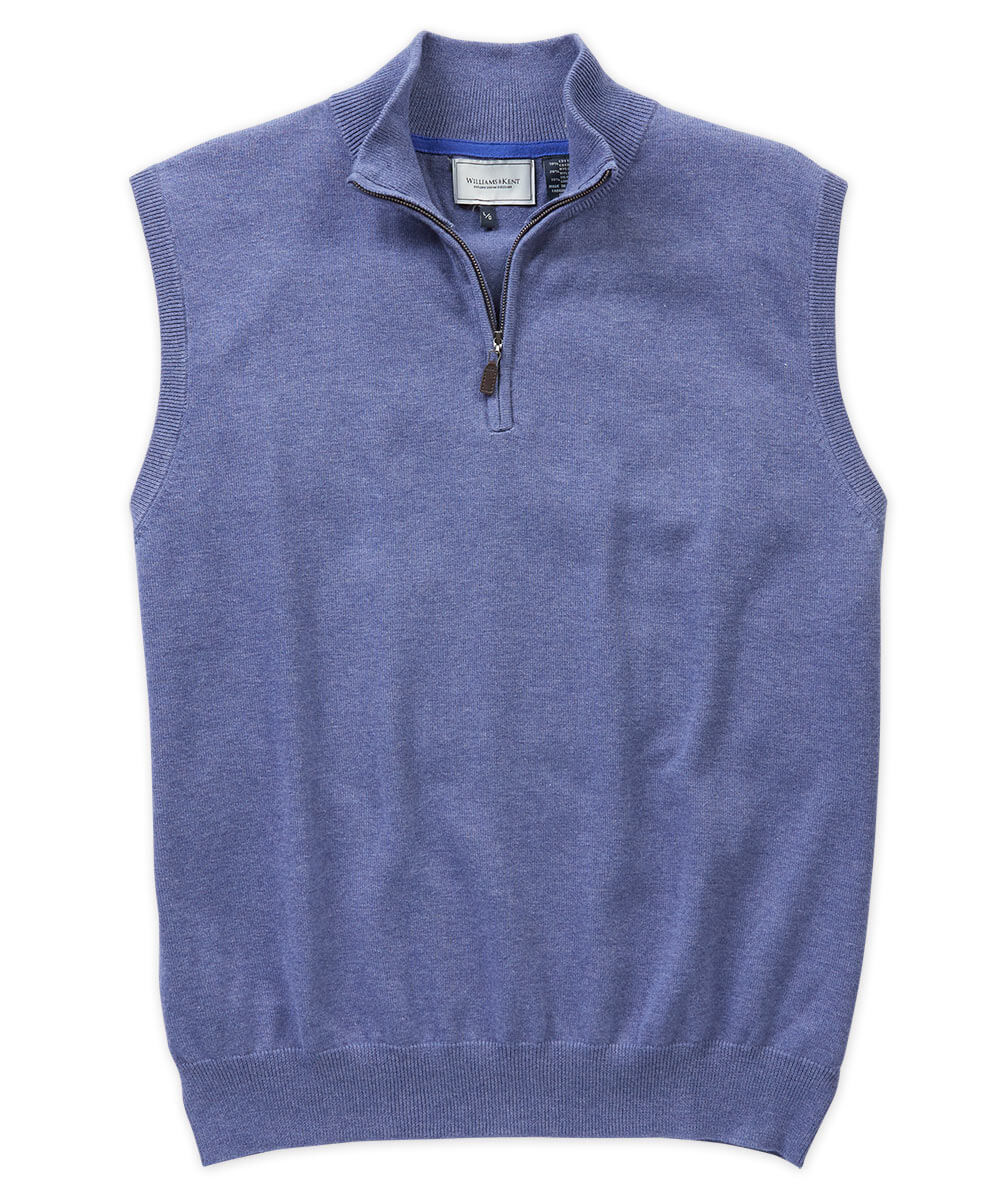 Cotton-Silk Blend Quarter-Zip Sweater Vest